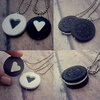 Oreo Cookie Puzzle Necklace Set, Best Friend Necklaces