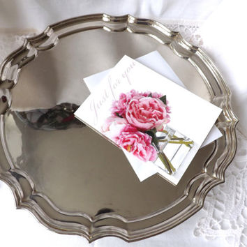 Silver Salver / Drinks Serving Tray / Business Card Tray / Silver Butlers Tray / Calling Card Tray / Footed Tray / Wedding Cake Stand