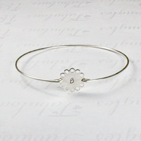 Personalized Silver Flower Initial Bangle Bracelet, Silver Initial Jewelry, Customized stamped Charm Bracelet, Bridesmaid Girlfriend Gift