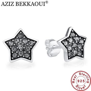Authentic 925 Sterling Silver Sparkling Star Stud Earrings for Women Black Punk Earring Compatible with PAN Jewelry Best Gift