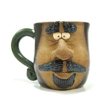 Ceramic face mug - Green pottery mug - Mustache goatee gift - Dark green mug - Funny coffee mug - Unique Christmas gift - Face mug pottery