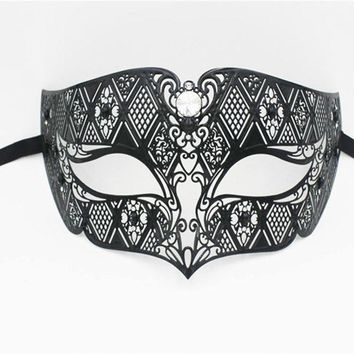 Men Black Gold Metal Laser Cut Venetian Masquerade Mask Wedding Party Silver Diamond Costume Phantom Opera Mardi Gras Ball Mask