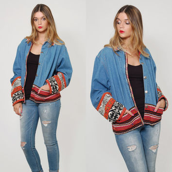 Vintage 90s Denim Jacket Oversized ETHNIC Boho Jacket Slouchy Denim Jacket Southwestern CHAMBRAY Jacket