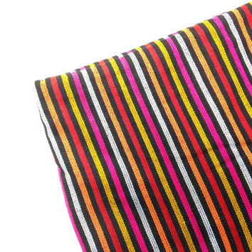 Striped Mexican Fabric -  Black Red Orange Yellow Aztec Pattern - Cambaya - Tribal - One Yard
