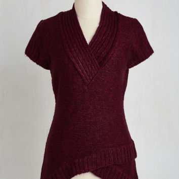 Mid-length Sleeveless The Layer the Land Sweater in Berry