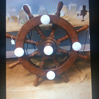 Antique Authentic Ship Wheel Light Nautical Folk Art Salvage Refurbished 1920s