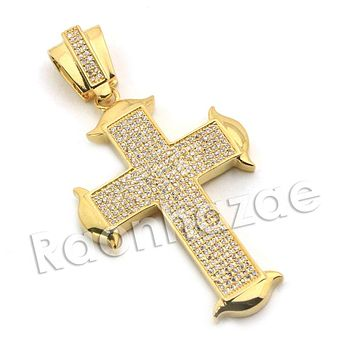 Lab diamond Micro Pave Medieval Jesus Cross Pendant w/ Miami Cuban Chain BR076