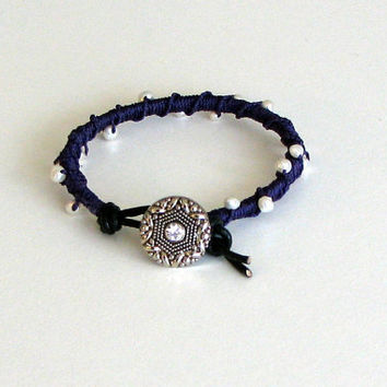 Kitty Bracelet Beaded Macrame Leather Wrap by MaisJewelry on Etsy