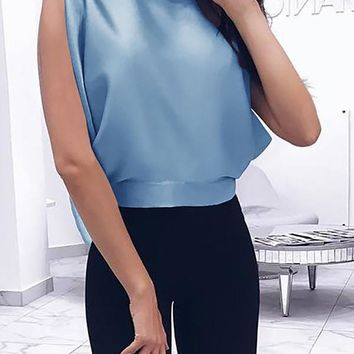 New Blue Tie Back Bow Backless Fashion Going out Blouse