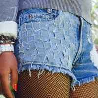 Levis high waisted shorts distressed ripped denim cut off shorts by Jeansonly