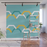 Teal Steps Wall Mural by spaceandlines
