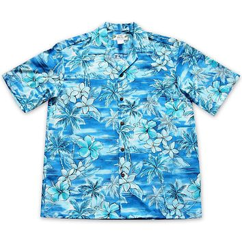 Diamond Head Aqua Hawaiian Cotton Shirt