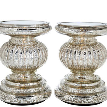 Set of 2 Lit Candle Holder Pedestals with Mirror Inserts