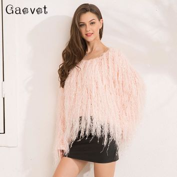 Gaovot 2017 Autumn Women Sweaters Series Winter Tassel Knitted Mohair Shaggy Yarn Jumper Femme Pink Fashion Sweater SA171009