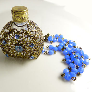 Vintage Czech Glass Antique Gold Filigree Perfume Bottle Necklace, Periwinkle Blue Rhinestones and matching chain