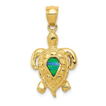14k Yellow Gold & Synthetic Blue Opal Turtle Pendant, 15mm (9/16 Inch)