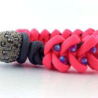 Paracord Bracelet - Pink Paracord Survival Bracelet, Pink Rhinestone Studs and a Pave Bead Clasp