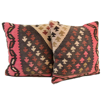 Porfirio Pink/Brown Spade Pattern Kilim Overdyed Pillow