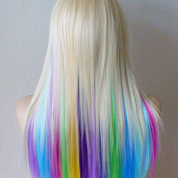 Rainbow wig. Blonde rainbow hair ombre wig. Pastel Pink Lavender Lilac Purple Lime green Grass green Yellow Sky blue Turquoise midnight blue