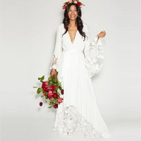 Bridal Dress Wedding Dress Summer Beach Boho Bohemian Plus Size Hippie Style Deep V Neck Long Sleeves Lace Flower Gowns 2017