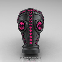 Art Masters Avant Garde Mens 14K Matte Black Gold 2.0 Ct Pink Sapphire Gas Mask Ring R184M-14KMBGPS