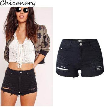 Chicanary Summer Fashion Women Sexy Black High Waist Ripped Distressed Denim Shorts Slim Stretchy Boot-cut Jeans