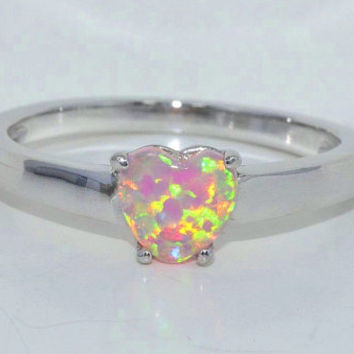Beautiful Pink Opal Heart Ring .925 Sterling Silver Rhodium Finish