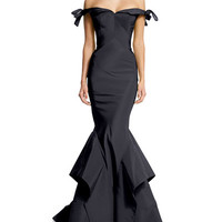 Zac Posen Off-the-Shoulder Bow-Detailed Gown, Navy