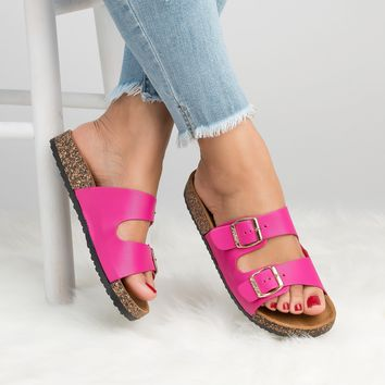 Double Buckle Sandals -Fuchsia
