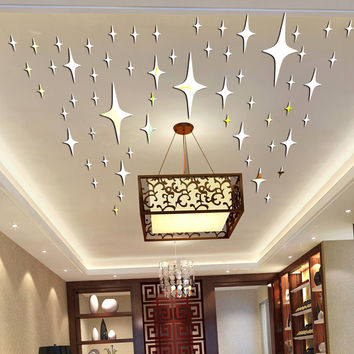 50 Pieces Pack Star Shape 3D Acrylic Wall Stickers Living Room Bed Room Ceiling Mirror Wall Sticker Home Decoration P0.5