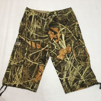 Men's Bionic Tactical Hunting Camouflage Sniper Shorts Outdoor Sports Male Camo Cargo Shorts For Fishing Camping Hiking Shorts