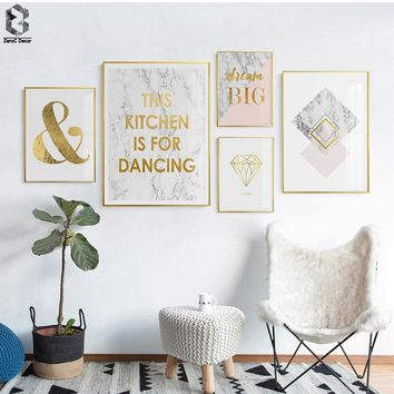 Nordic Modern Posters And Prints Marble Wall Art Canvas Painting Quotes Wall Pictures For bedroom Scandinavian Room Decoration