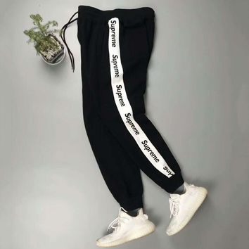 Supreme Fashion Casual Pants Print Trousers Sweatpants For Men White Stripe G -CN-CFPFGYS