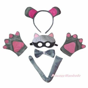 Raccoon Cat Halloween Headband Bow Tail Paw Mask 5PC Unisex Child Party Costume