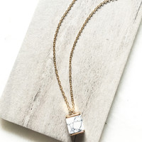 Marble & Gold Cube Necklace
