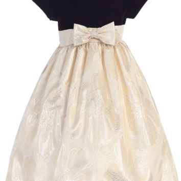 Chocolate Velvet Cap Sleeve Bodice & Gold Jacquard Girls Holiday Dress 3M-12