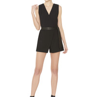 Lyndi Crossover Wrap Romper With Leather Tie Belt | Alice + Olivia