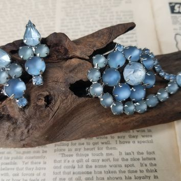 Frosted ice blue and steel blue mid century vintage rhinestone earrings and brooch set demi parure