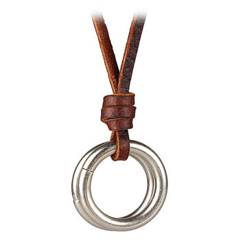 Brown real Leather and alloy pendant adjustable necklace mens necklace  unisex necklace cool necklace B2753