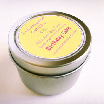 Birthday Cake Soy wax Candle,Soy Candle Tin, Scented Soy Candles, Hand Poured Soy Candles, Soy Candles Handmade