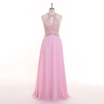 Pink Halter Zipper Backless Beading Crystal Bling Evening Dresses luxury Party Gown Prom Dress