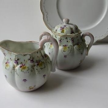Green and Pink Cream and Sugar Set with Handpainted Yellow and Purple Flowers
