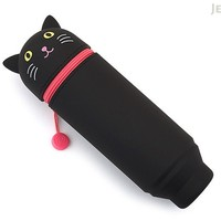 JetPens.com - Lihit Lab Smart Fit PuniLabo Stand Pen Case - Black Cat