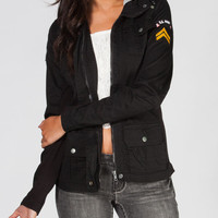 Ashley Womens Twill Military Jacket Black  In Sizes