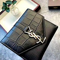 YSL Saint Laurent Paris 2019 new crocodile embossed wallet Black