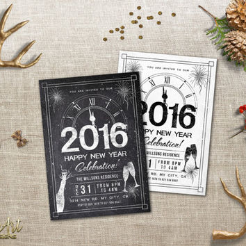 New Years Invitations Printable Chalkboard New Years Party Invitation Black White Printable New Years Eve invite DIY Holiday Party Invitate
