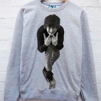Retro John Lennon Jumper Grey