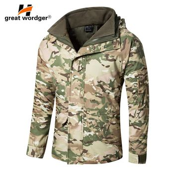 G8 Winter Men Thick Thermal Tactical jacket Coat Waterproof Double-layer Removable Military Camouflage Windbreaker Hiking Jacke