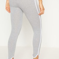 Grey High Waisted Curve Hem Detail Legging