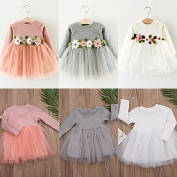 Pudcoco Kids Girls Fall Jersey Dress Tulle Cap Dresses For Girls Toddler Children Girl Outfit Long Sleeve
